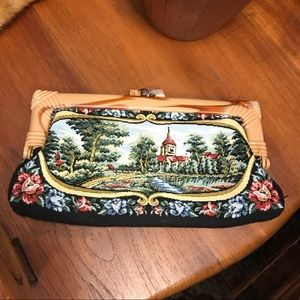 Vintage Bags - Vintage Mary Poppins Needlepoint Carpet Clutch